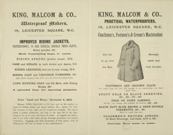 Advertisement for King, Malcom & Company's men's clothes reverse